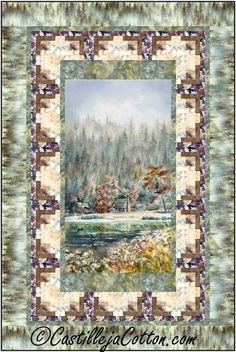 """Wilderness cabin panel with log cabin borders. Pieced panel quilt pattern. Finished Size: Lap/Throw 48"""" x 72"""" Skill Level: Advanced Beginner Technique: Pieced Lap Quilt Patterns, Quilting Ideas, Spring Theme, Panel Quilts, Fabric Panels, Digital Pattern, Large Prints, Woodland, Vibrant Colors"""