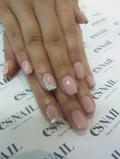 Wedding nails, only i would do just ring finger bling