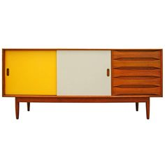 Sideboard by Johannes Aasbjerg credenza teak Denmark   From a unique collection of antique and modern sideboards at https://www.1stdibs.com/furniture/storage-case-pieces/sideboards/