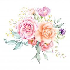 Watercolor rose bouquet backfround Premium Vector   Free Vector #Freepik #vector #freebackground #freeflower #freewedding #freewatercolor