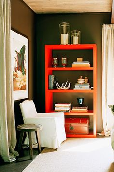 really digging the unexpected colorful element a freestanding bookshelf can bring