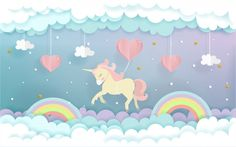 A unicorn flying with heart balloons in the sky, cute unicorn in paper cut style. Vinyl Wallpaper, Nursery Wallpaper, Photo Wallpaper, Mobile Wallpaper, Watercolor Wall, Ciel Pastel, Kindergarten Wallpaper, Design Plat, Web Design