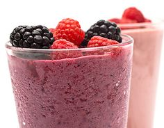 Berry Protein Smoothie: Combine ½ cup skim milk or soy milk, a 6-ounce container nonfat vanilla yogurt, ¾ cup fresh or frozen berries, and a few ice cubes in a blender. If you like, toss in a scoop of protein powder for an extra hit of protein.
