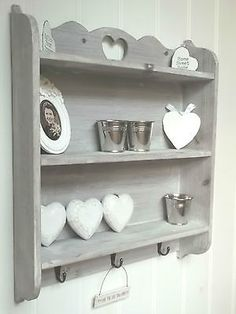 Shabby Chic Wall Unit Shelf Storage Cupboard Cabinet Hooks French Vintage Style in Home Furniture \u0026 DIY Furniture Bookcases Shelving \u0026 Storage & Carved PLATE RACK WALL SHELF French Blue DISPLAY CABINET Vintage ...