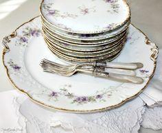 Antique French Haviland Limoges Purple Violet Floral Dessert Set. #FrenchGardenHouse