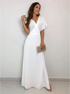 Vestido Longo Crepe Ivana Off Modest Dresses, Satin Dresses, Casual Dresses, Prom Dresses, Gowns, Dress Outfits, Fashion Dresses, Social Dresses, White Fashion