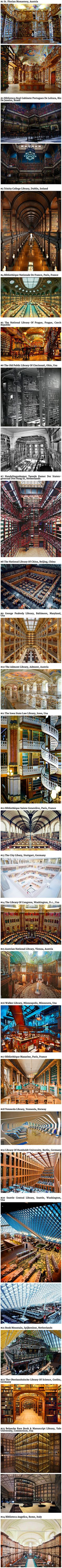 Twenty-four extraordinary libraries from around the world... PLEASE TAKE ME TO ALL OF THEM!