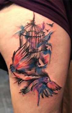 Chronic Ink Tattoo, Toronto Tattoo - Water color style - Bird and Bird cage by Marilyn, Check out our face book to see more new posts (Chronic Ink Tattoo Shop Toronto) Cage Tattoos, Wolf Tattoos, Sexy Tattoos, Body Art Tattoos, Tattoos For Guys, Tattoos For Women, Sleeve Tattoos, Tatoos, Girl Thigh Tattoos