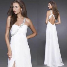 Evening Dress - White Strap Beaded Long Dress (Prom Dress/Homecoming Dress/White/Sexy/Floor Length/Available in Blue, Green, Black, Purple)
