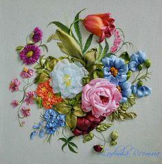 Silk Ribbon Embroidery, delightful bouquet, multi-colored.