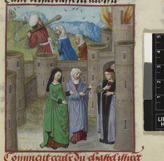 Castle on fire, Harley 4425, Guillaume de Lorris and Jean de Meun, Roman de la Rose Netherlands, S. (Bruges); c. 1490-c. 1500