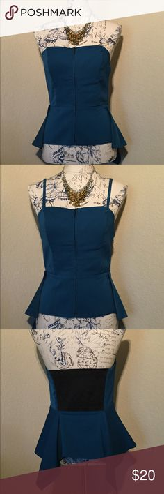 Corset Zipper Top Corset zipper top in A dark teal. Can wear the top with or without the straps. Top is a size 6. Necklace sold separately. Guess by Marciano Tops