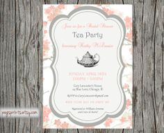 Bridal Shower High Tea Invitation Printable by pegsprints on Etsy, $14.00