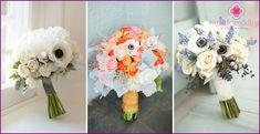 Bryllup buket anemoner: en kombination af muligheder med de andre farver, billeder