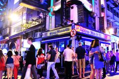 Lan Kwai Fong 蘭桂坊 Bar & club & food district. Popular night district and hang out spot for lao wai.
