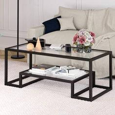 Marvelous Glass Coffee Tables Ideas For Living Room - Want the perfect, elegant, environment in your home? Then you should try having a glass coffee table as your room's centerpiece. Everything in your ho. Decor, Furniture, Room, Coffee Table With Storage, Coffee Table Design, Table, Decorating Coffee Tables, Living Room Table, Coffee Table Joss And Main