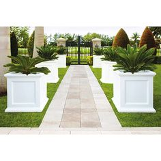 Mayne Self-Watering Fairfield 28 in. White Plastic Square Planter - - The Home Depot Landscaping With Rocks, Modern Landscaping, Front Yard Landscaping, Landscaping Ideas, Pergola Ideas, Backyard Ideas, Front Yard Walkway, Garden Ideas, Acreage Landscaping