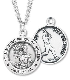 This is a very popular Saint Sebastian baseball medal and is a great gift for either a youth boy or man that loves the game! Quality product timeless design.  You can choose from the following styles:   a 24 inch rhodium plated solid brass chain with clasp   a 24 inch endless rhodium plated solid brass chain   a 24 inch .925 sterling silver chain with clasp that is rhodium plated for beautiful shine and resistance to tarnish  The pendant is presented in a lovely velvet gift box.  Features…