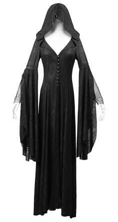 Robe noble pretresse noire avec motif vintage, capuche, manches kimono élégant gothiq