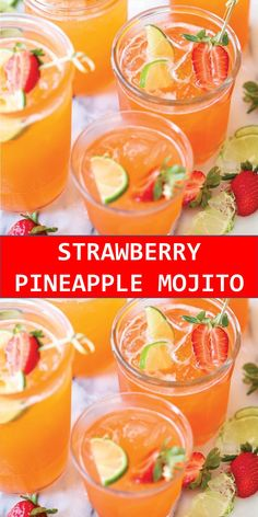 Your family's favorite food and drink ! STRAWBERRY PINEAPPLE MOJITO A fun sweet tropical twist to everyone's favorite cocktail! And you can easily transform this to a non-alcoholic drink! Mojito Cocktail, Signature Cocktail, Mojito Drink, Cocktail Ideas, Sangria, Yummy Drinks, Healthy Drinks, Mix Drinks, Dessert Drinks