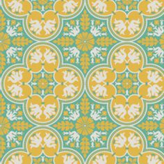"Joel Dewberry - Notting Hill - Historic Tile in Canary  Manufacturer: Westminster / Free Spirit (PWJD068.Canary) Designer: Joel Dewberry Collection: Notting Hill Print Name: Historic Tile in Canary   Weight / Material / Width: Quilting, Cotton, 44/45 inches Vertical repeat: 6.25 inches   Clovers measure 6"" by 6"""