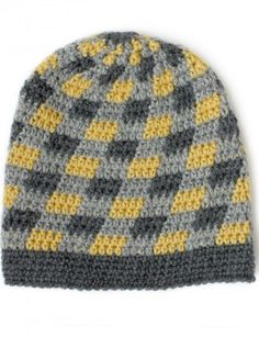 Plaid Slouchy Beanie - Patterns | Yarnspirations