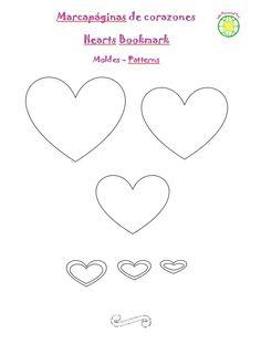 Moldes del marcapáginas de corazones en goma EVA Diy, Felt Animals, Jelly Beans, Tutorials, Hearts, Bricolage, Do It Yourself, Homemade, Diys