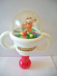 Vintage Remco Garfield Push N Spin Rattle Toy by ALEXLITTLETHINGS