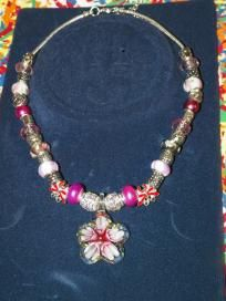 Pink, White & Silver beaded necklace w/glass flower focal - $30 + s/h