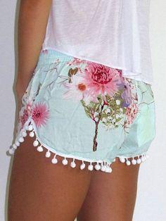Blue Floral Print Elastic Waist Pom Poms Shorts