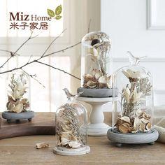 Miz Home 1 Set M Size Ceramic Cover Vase and Dry Flower Decor