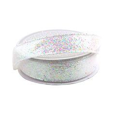 Sparkling Glitter Ribbon Wired Edge, 5/8-Inch, 10 Yards, White