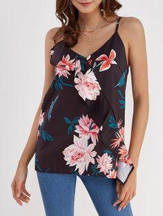 Black Random Floral Print V-neck Sleeveless Casual Cami