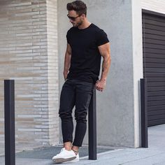 Coolest Ways To Wear Black Crew Neck Tee >> https://www.lifestylebyps.com/blogs/mens-fashion-blog/81565441-12-ways-you-can-wear-your-black-crew-neck-tee    #mensfashion