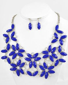 Rhodiumized / Blue Acrylic & Clear Rhinestone / Lead&nickel Compliant / Necklace & Post Earring Set