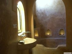 """What is tadelakt? """"Tadelakt is a nearly waterproof lime plaster used on both…"""