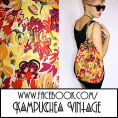 Vintage Floral Backpack Bag Gold Chain - 1990s Kitsch Retro Festival FREE P