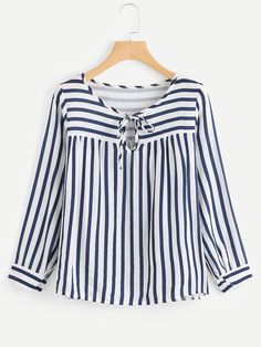 SheIn offers Contrast Stripe Tie Neck Blouse & more to fit your fashionable needs. Kurta Designs, Blouse Designs, Shein Dress, Bluse Outfit, Hijab Fashion, Fashion Outfits, Fashion Clothes, Hijab Stile, Tie Neck Blouse