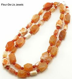 "Jay King MINE FINDS Spider Web Agate & Carnelian 35"" Necklace Sterling Silver"