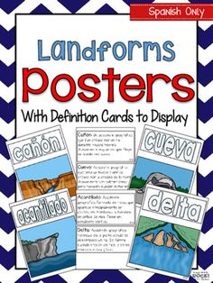 **IN SPANISH** Landforms posters for fifteen different landforms with vocabulary term. Also, included are vocabulary cards to display and introduce landforms concepts.