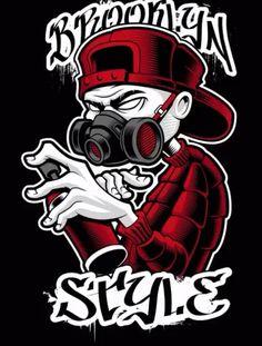 Vector illustration of graffiti artist with spray and respirator. Street art colored design on dark background.