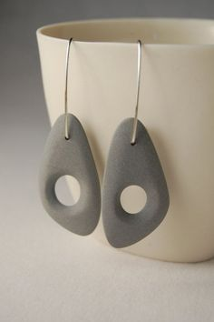 Gray Earrings Porcelain  Sterling Silver Earwires  by yashabutler