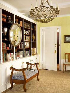 Love the dark hue on the interior of this bookcase!