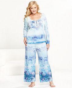 One World Plus Size Pajamas, Frozen Snowfall Top and Pajama Pants Set - Plus Size Pajamas & Robes - Plus Sizes - Macy's Plus Size Sleepwear, Plus Size Pajamas, Night Suit, Night Gown, Pyjamas, Nightwear, Women Lingerie, Night Life, Lounge Wear