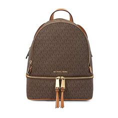 8d9417b27e1d3a Michael Kors Rhea Zip Backpack (Medium, Signature Brown)
