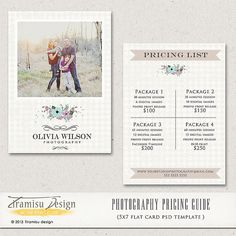 Photography Price List  - Photography Pricing Guide - Price List template -INSTANT DOWNLOAD-sku2-3