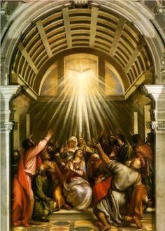 Pentecost - Titian.  c.1545.  Oil on canvas.  Santa Maria della Salute, Venice, Italy.