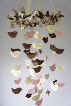 Bird Mobile  Ivory Chocolate Pink for Nursery by LoveBugLullabies, $55.00
