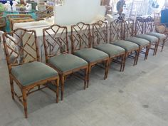 8 Faux Bamboo Chippendale Side Chairs