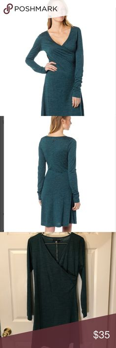 "PrAna Women's Nadia Long-Sleeve Dress. PrAna Women's Nadia Long-Sleeve Dress. Deep Teal Color. Surplice Neck With Side-Steam Shirring. Lightweight Casual Style. Length: 36"". prAna Dresses Long Sleeve"